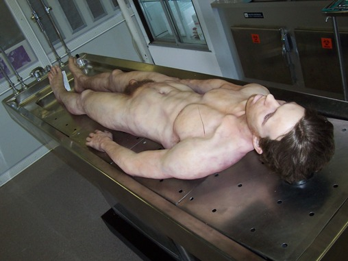 Corpse on a morgue table